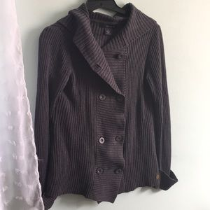 CK Gray Button Up Knit Cardigan With Hood🌟